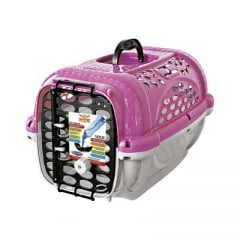 Caixa de Transporte Plast Pet Panther Pop - Rosa/Creme